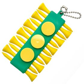 10 PCS/PACK, GOGO Golf Tee Green Holder with Yellow Ball Marker and Yellow Wooden Tees, Gift Ideas