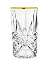 Godinger 25442 Dublin Set of 4 Highball Glasses - Gold Band