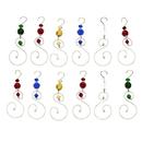 Godinger 8415 Set of 12 Colored Glass Ornament Hangers