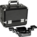 Sunrise C3002ASBY Gray Carbon 6-Tiers Accordion Trays Makeup Cosmetic Train Case - C3002