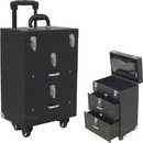 Sunrise C6026PVAB 4-Wheels Black Faux Leather Nail Artist Pro Rolling Case with 2 Drawers, Foundation holder and Clear Pouch