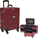 Sunrise C6027PVRD 4-Wheels Red Faux Leather Nail Artist Pro Rolling Case with 4 Foundation holder Trays and Clear Pouch
