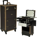 Sunrise C6233PVBR Brown Ancient Copper Hardware 4-Wheels Leatherette Professional Cool LED Light Rolling Studio Makeup Case with Expandable Trays, Drawers and Mirror - C6233