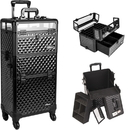 Sunrise Black Diamond Pattern 4-Wheels Professional Rolling Aluminum Cosmetic Makeup Case and Nail Case with Clear Panel Foundation Holder & Dividers - I31061