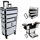 Sunrise White Krystal Trolley Makeup Case- I3364