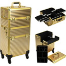 Gold Stripe Pattern 4-Wheels Professional Rolling Aluminum Cosmetic Makeup Case and Easy-Slide & Extendable Trays - VR6504