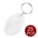 GOGO 25pcs Acrylic Photo Keychains, Oval Photo Snap-in Key Chain, Craft Keyring Gift