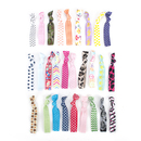 ALICE 25 Pack Knotted Hair Ties Mix Color Print Design Ponytail Holders