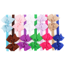 Alice Grosgrain Bows Glued to Soft Stretchy Headbands Head Wear (Pack of 10)
