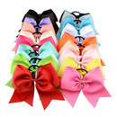 GOGO 12Pcs Solid Color Baby Girl Ponytail Holder Large Cheer Boutique Hair Bows Elastic Tie 8 inches
