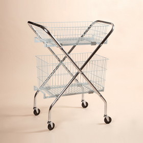 Health Care Logistics - Folding Multi-Purpose Wire Cart w/basket
