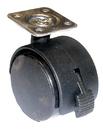 40mm Castor Plate W/Brake BLACK