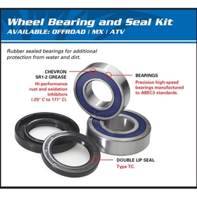 All Balls WBK-25-1408 Front Wheel Bearing For Yamaha Grizzly 660 (02)