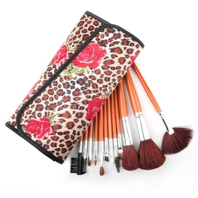 ALICE 12 Pcs Makeup Cosmetic Brush Set with Leopard Printed Case, Christmas Gift Idea