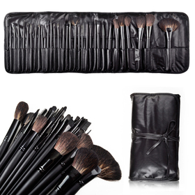ALICE Natural Hair Made 32 Count Super Professional Studio Brush Set with Leather Pouch