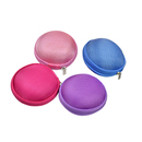 Aspire Earphone Cases Mix Colors EVA Earbud Carrying Hard Case Storage Bag, Round Shape, Set of 4, 3.1