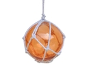 Handcrafted Model Ships 3 Orange Glass - NEW Orange Japanese Glass Ball Fishing Float With White Netting Decoration 3