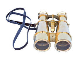 """Handcrafted Model Ships BI-0315 Captain's Solid Brass Binoculars with Leather Case 6"""""""
