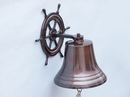Handcrafted Model Ships BL-2026-2-AC Antique Copper Hanging Ship Wheel Bell 8