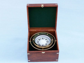 Handcrafted Model Ships CO-0524 Solid Brass Gimbal Compass w/ Rosewood Box 9""
