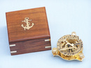 Handcrafted Model Ships CO-0563 Solid Brass Captain's Triangle Sundial Compass w/ Rosewood Box 3""