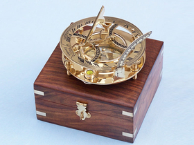 Handcrafted Model Ships CO-0564 Solid Brass Round Sundial Compass w/ Rosewood Box 6""