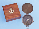 Handcrafted Model Ships CO-0588AN Antique Brass Gentlemen's Compass w/ Rosewood Box 4""