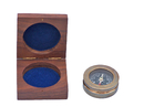 Handcrafted Model Ships CO-0607-AN Antique Brass Paperweight Compass with Rosewood Box 3