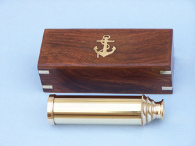 "Handcrafted Model Ships FT-0224 Captain's Brass Spyglass Telescope 15"" w/ Rosewood Box"