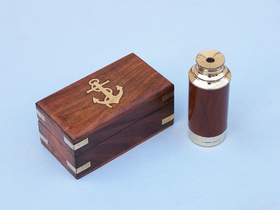 "Handcrafted Model Ships FT-0242 Scout's Brass - Wood Spyglass Telescope 7"" w/ Rosewood Box"