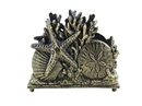 Handcrafted Model Ships K-1408-gold Antique Gold Cast Iron Seashell Napkin Holder 7