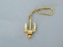 Handcrafted Model Ships K-230 Solid Brass Navy Stockless Anchor Key Chain 5""