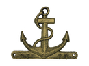 Handcrafted Model Ships K-717-gold Rustic Gold Cast Iron Anchor with Hooks 8