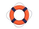 Handcrafted Model Ships Lifering 15-332 Vibrant Orange Decorative Lifering With Blue Bands 15