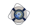 Handcrafted Model Ships Lifering-15inch-323-clock Vintage White With Blue Rope Bands Decorative Lifering Clock 15