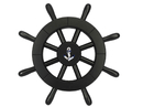 Handcrafted Model Ships New-Black-SW-12-Anchor Pirate Decorative Ship Wheel With Anchor 12