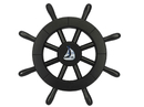 Handcrafted Model Ships New-Black-SW-12-Sailboat Pirate Decorative Ship Wheel With Sailboat 12
