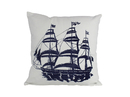 Handcrafted Model Ships Pillow 102 Blue Tall Ship Decorative Nautical Throw Pillow 16