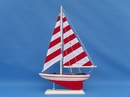 Handcrafted Model Ships ps-red stripe 25 Red Striped Pacific Sailer 25