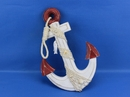 Handcrafted Model Ships Red-White-Anchor-13 Wooden Rustic Red/White Decorative Anchor w/ Hook Rope and Shells 13