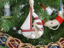Handcrafted Model Ships Sailboat-Red-XMASS Wooden Rustic Red Sailboat Model Christmas Tree Ornament