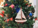 Handcrafted Model Ships Sailboat9-104-XMAS Red Sailboat Christmas Tree Ornament 9