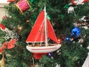 Handcrafted Model Ships Sailboat9-105-XMAS Red Sailboat with Red Sails Christmas Tree Ornament 9