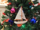 Handcrafted Model Ships Sailboat9-107-XMAS Orange Sailboat Christmas Tree Ornament 9