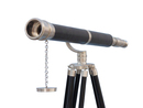 Handcrafted Model Ships ST-0117-BNL Floor Standing Brushed Nickel With Leather Galileo Telescope 65
