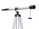 Handcrafted Model Ships ST-0117 BZ-WL Floor Standing Bronzed With White Leather Galileo Telescope 65