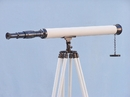 Handcrafted Model Ships ST-0123-Black-W Floor Standing Oil-Rubbed Bronze/White Leather Harbor Master Telescope 60