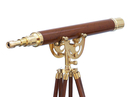 Handcrafted Model Ships ST-0149WD Floor Standing Brass/Wood Anchormaster Telescope 50