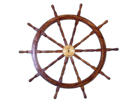 Handcrafted Model Ships SW-1714 Deluxe Class Wood and Brass Ship Wheel 36""