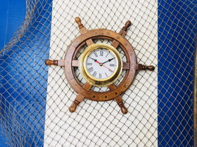 Handcrafted Model Ships SW-1719 Ship Wheel Clock 12""
